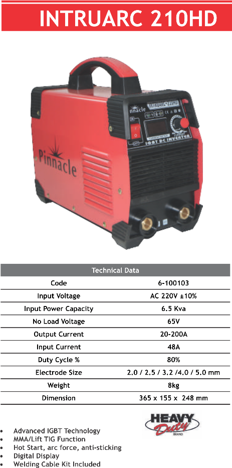 Intruarc 210HD ARC/MMA Welding Inverter