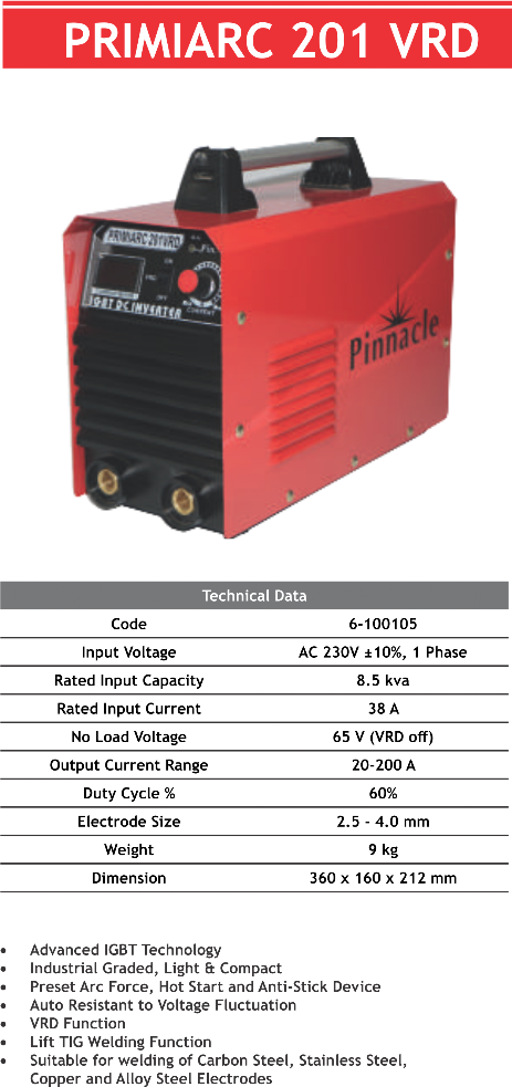 PRIMIARC 201 VRD Industrial ARC/MMA Welding Inverter