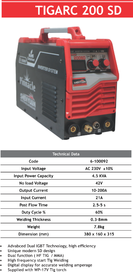 TIGARC 200SD TIG Welding Machine